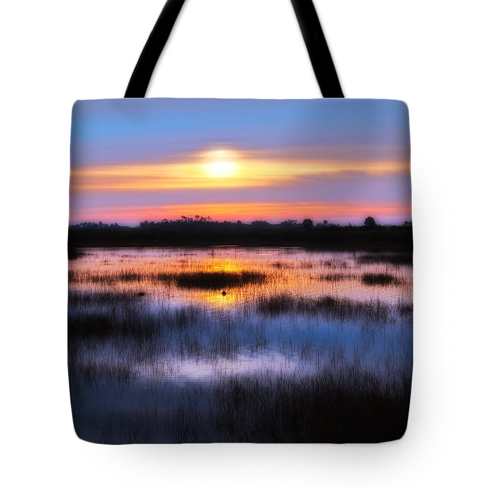 Sunrise Tote Bag featuring the photograph Dawn Over The Salt Marsh by Rich Leighton