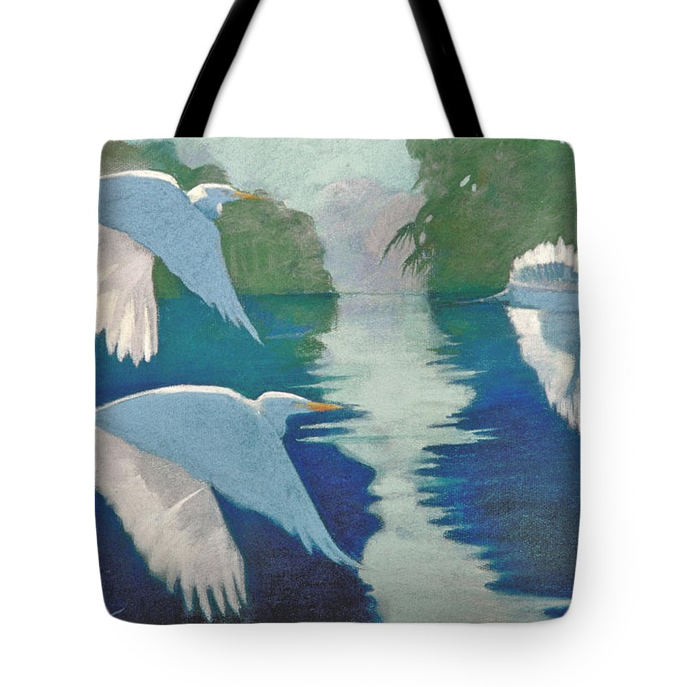 Birds Tote Bag featuring the painting Dawn Patrol by Neal Smith-Willow