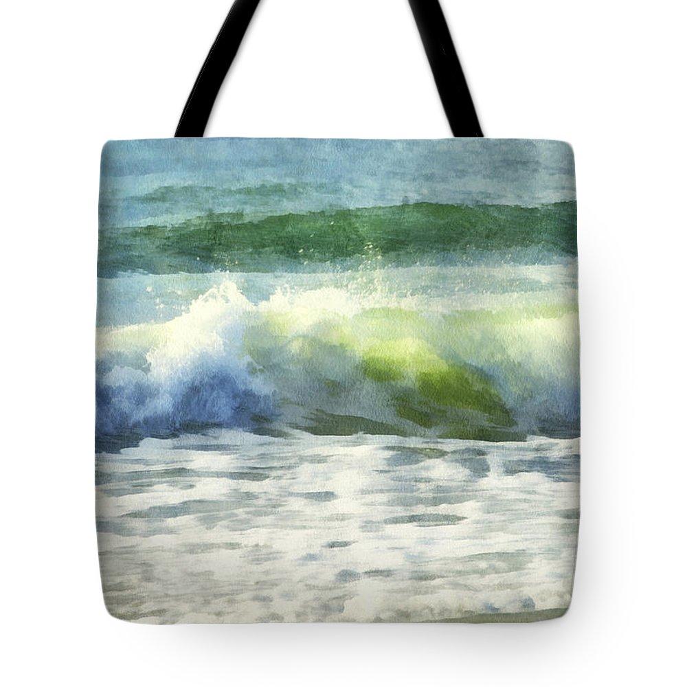Wave; Surf; Breaker; Shore; Beach; Dawn; Sun; Sunlight; Water; Ocean; Sea Tote Bag featuring the digital art Dawn Wave by Francesa Miller