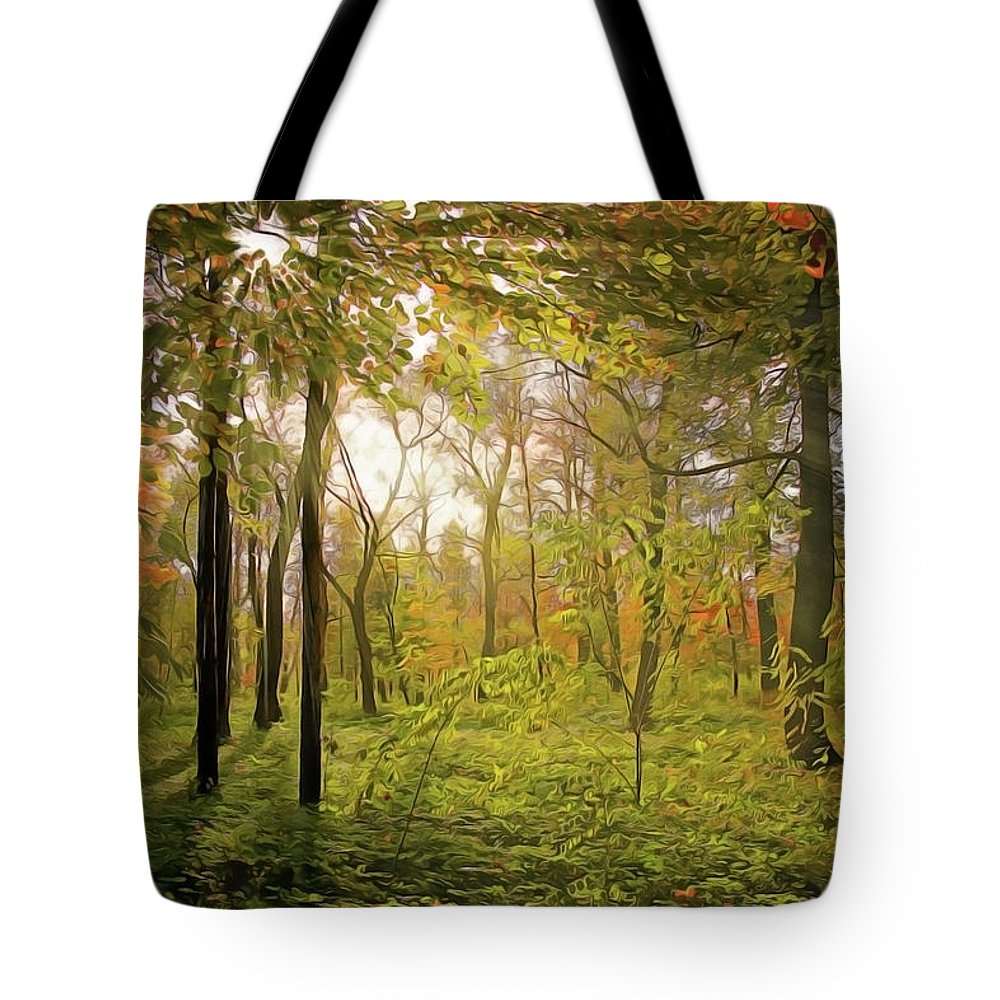 Dawn's Early Light Tote Bag featuring the painting Dawn's Early Light by Harry Warrick