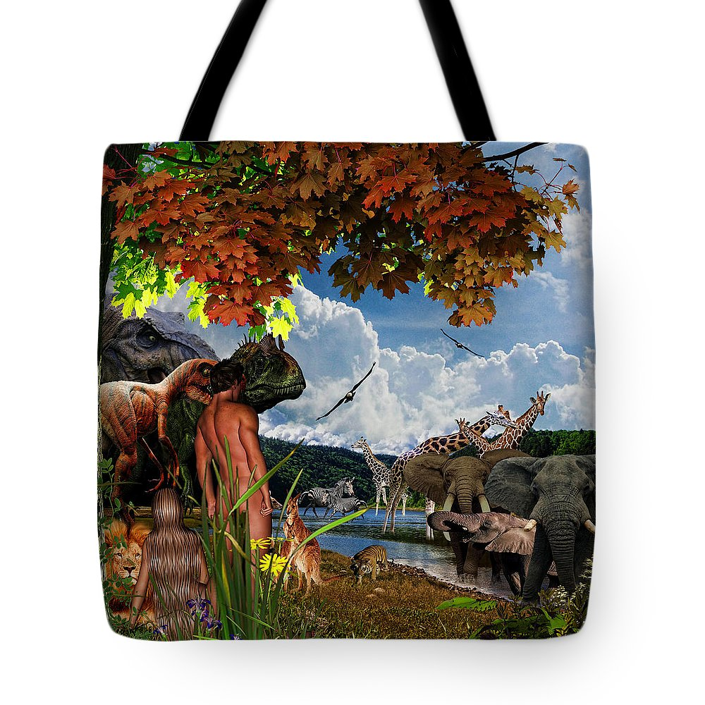God's Creation Tote Bag featuring the digital art Day 6 II by Lourry Legarde