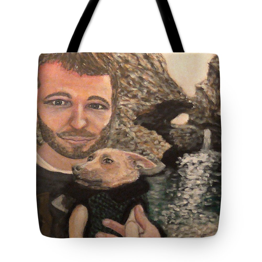 Landscape Tote Bag featuring the painting Day At A Waterfall by Robbie Potter