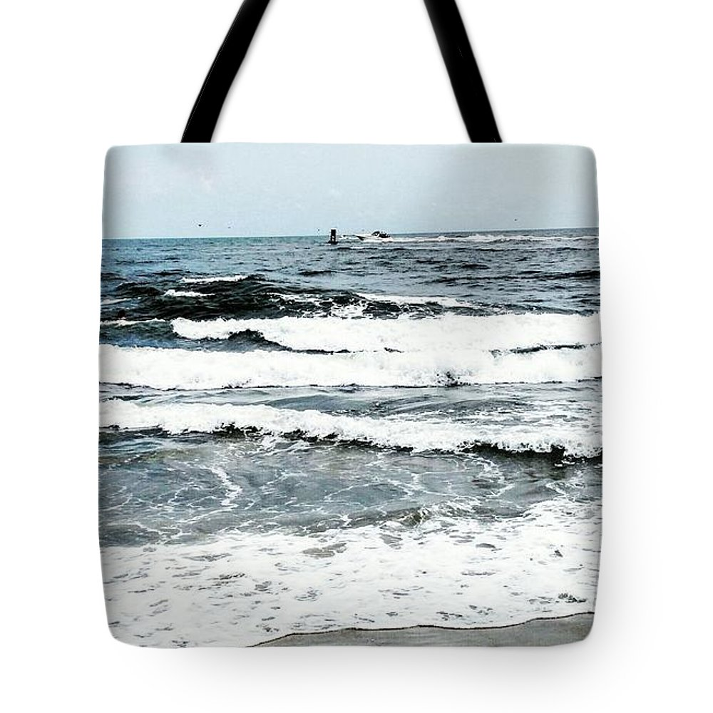 Waves Tote Bag featuring the photograph Day At The Beach by Aly Robinson