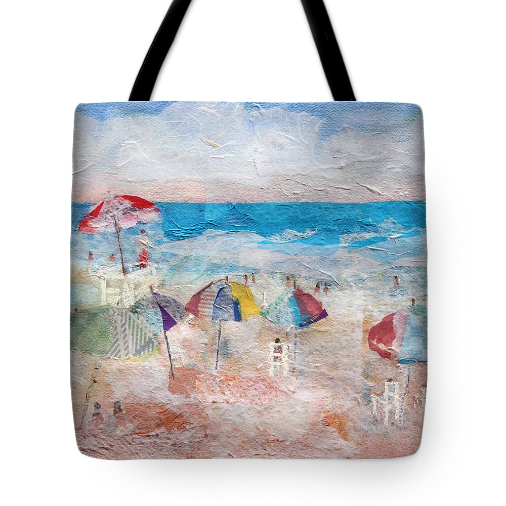 Beach Tote Bag featuring the mixed media Day At The Beach by Arline Wagner