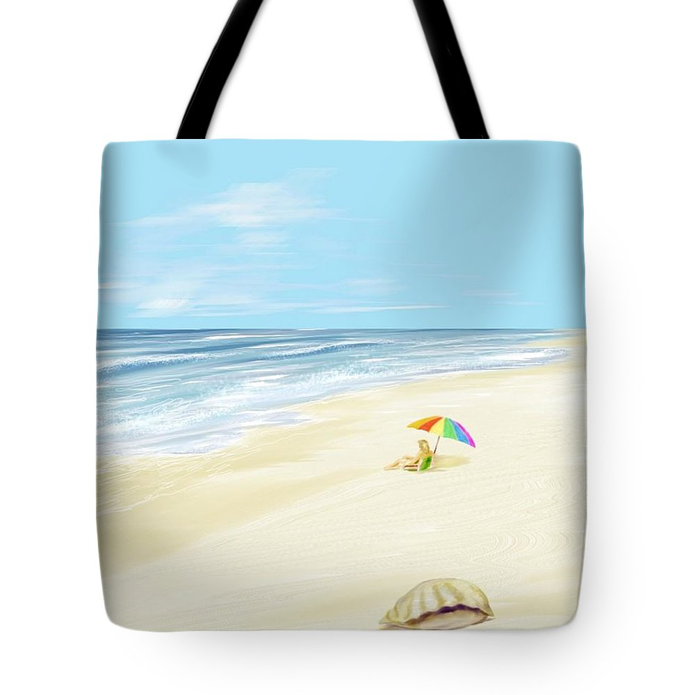 Beach Summer Sun Sand Waves Shells Tote Bag featuring the digital art Day At The Beach by Veronica Jackson