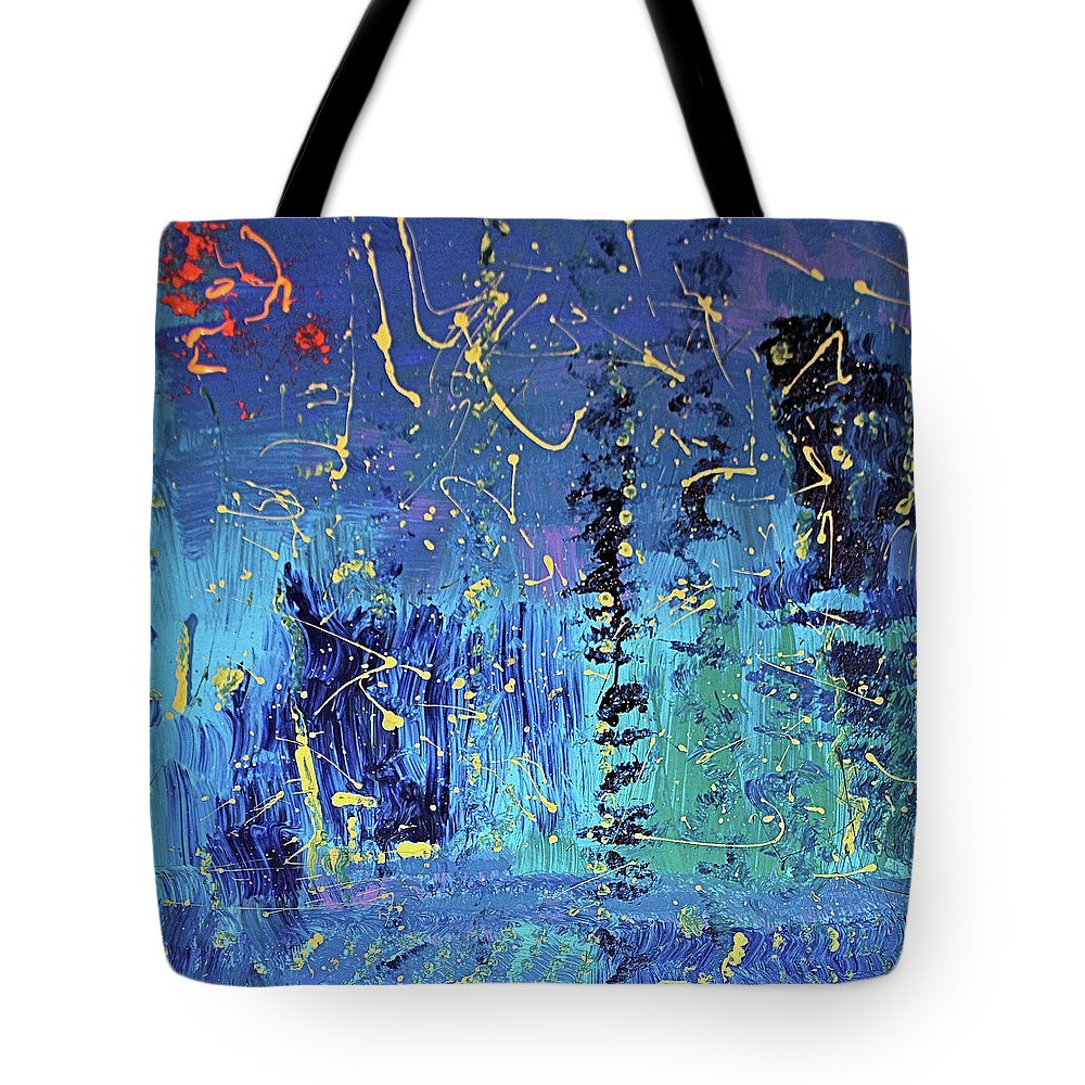 Blue Tote Bag featuring the painting Day Light Saving Time by Pam Roth O'Mara