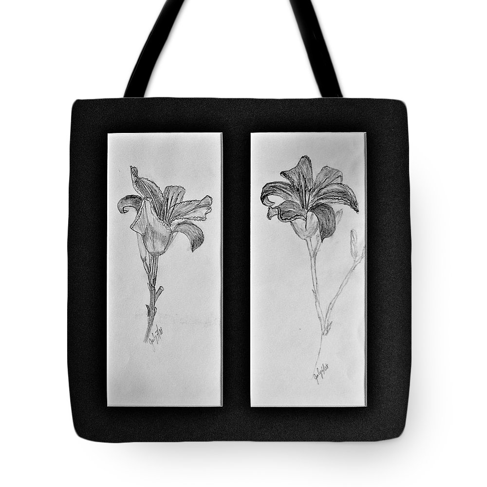 Pencil Sketches Tote Bag featuring the drawing Day Lilies by Peggy King