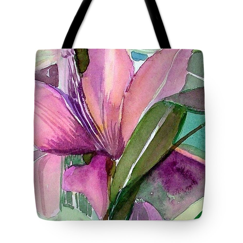 Flower Tote Bag featuring the painting Day Lily Pink by Mindy Newman
