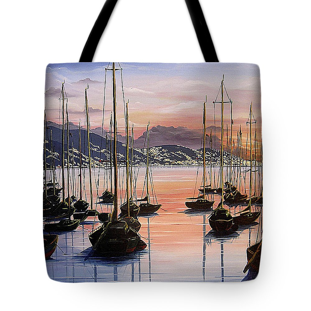 Seascape Painting Yacht Painting Harbour Painting Port Of Spain Trinidad And Tobago Painting Caribbean Painting Tropical Seascape Yachts  Painting Boats Dawn Breaking Greeting Card Painting Tote Bag featuring the painting Daybreak by Karin Dawn Kelshall- Best
