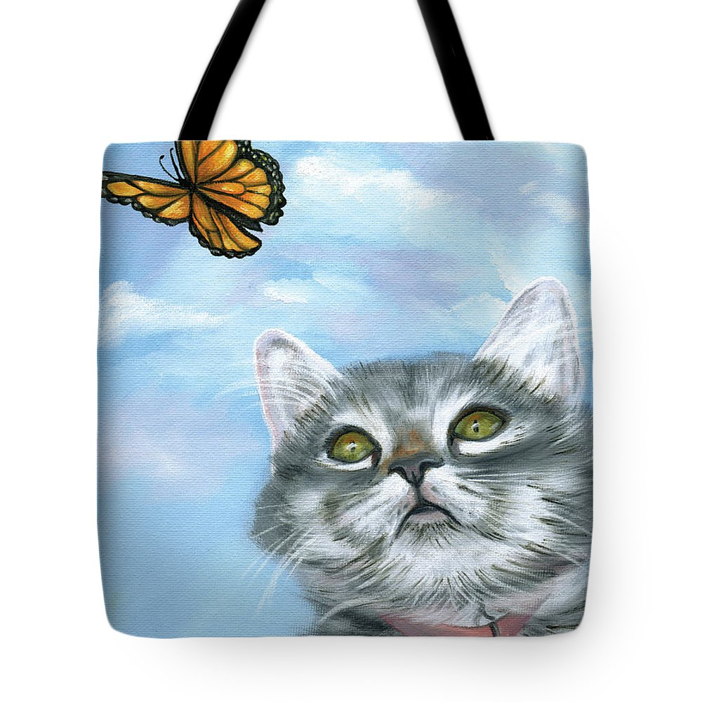 Cat Painting Tote Bag featuring the painting Daydreaming by Wanda Burton