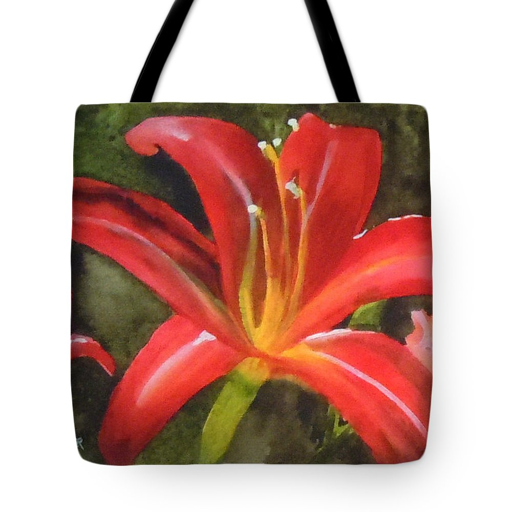 Red Tote Bag featuring the painting Daylily Study IV by Jean Blackmer