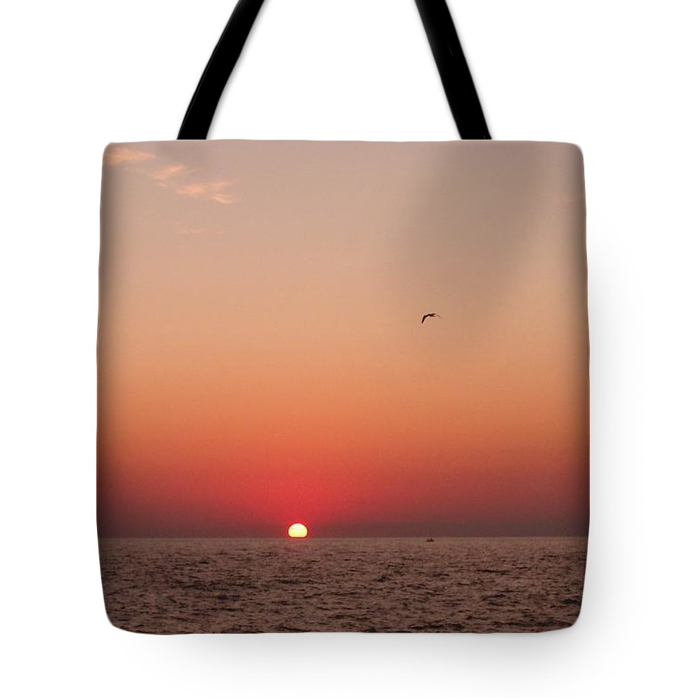 Sunset Tote Bag featuring the photograph Day's End Lake Michigan by Ted Lepczynski