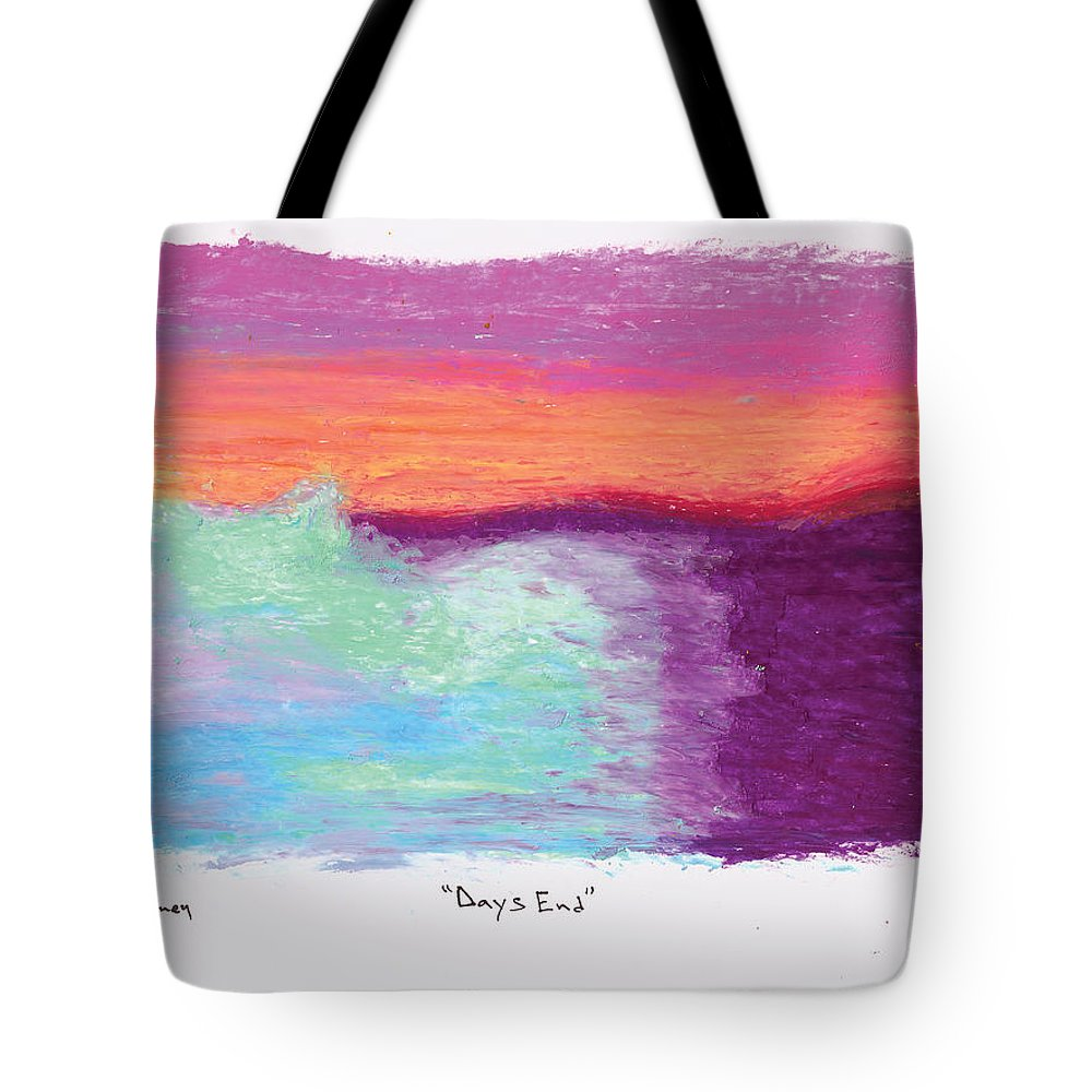 Oil Pastels Tote Bag featuring the drawing Days End by Michael Mooney