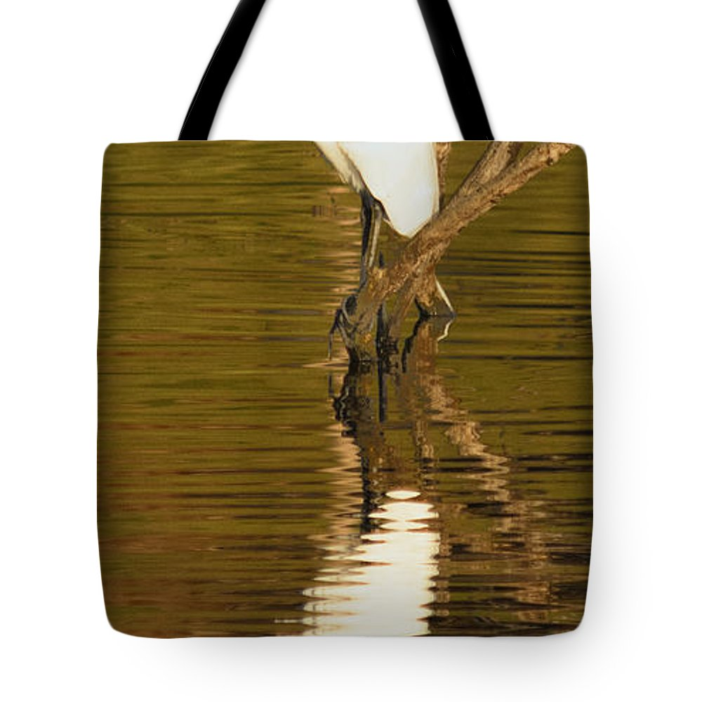 Egret Tote Bag featuring the photograph Days End With One Egret by Doug Holck