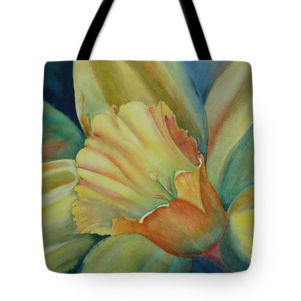 Flower Tote Bag featuring the painting Dazzling Daffodil by Ruth Kamenev