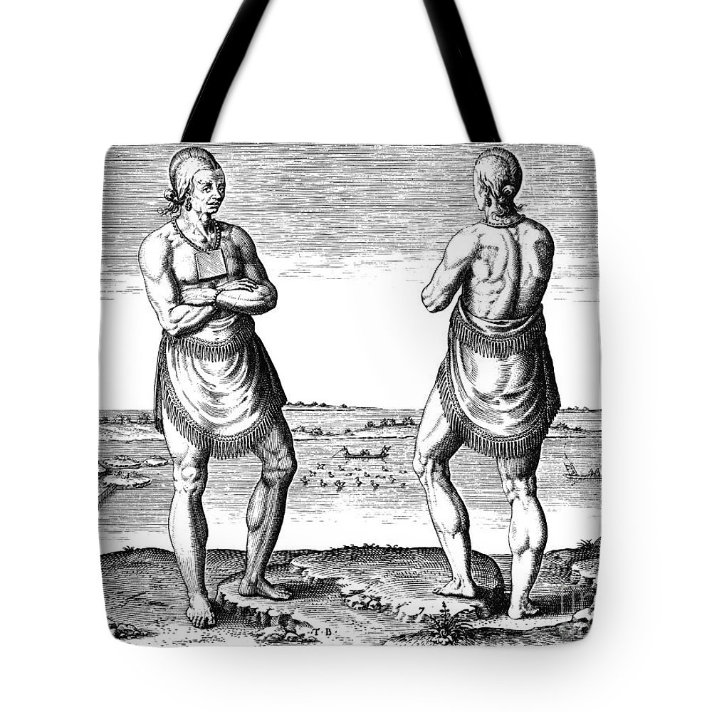 1590 Tote Bag featuring the drawing De Bry, Roanoke Native American by Granger