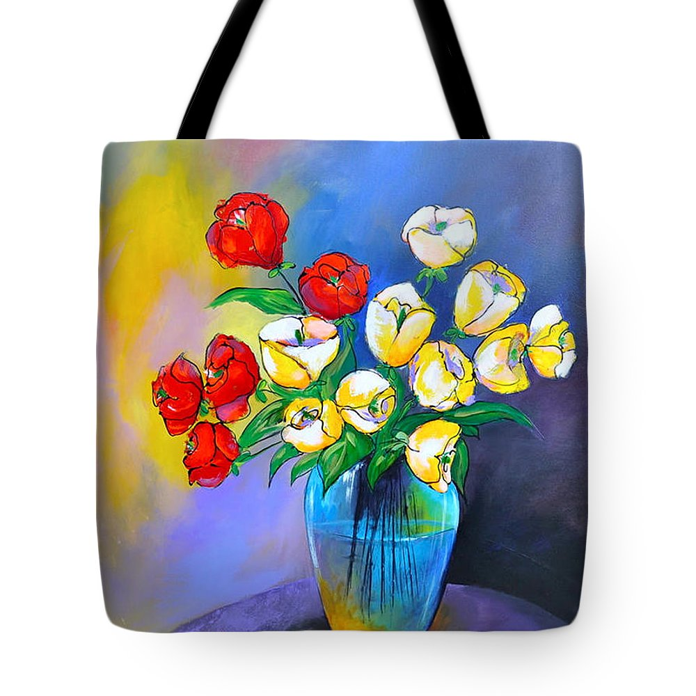 Flowers Tote Bag featuring the painting De Rosas Y Azucenas by Thelma Zambrano