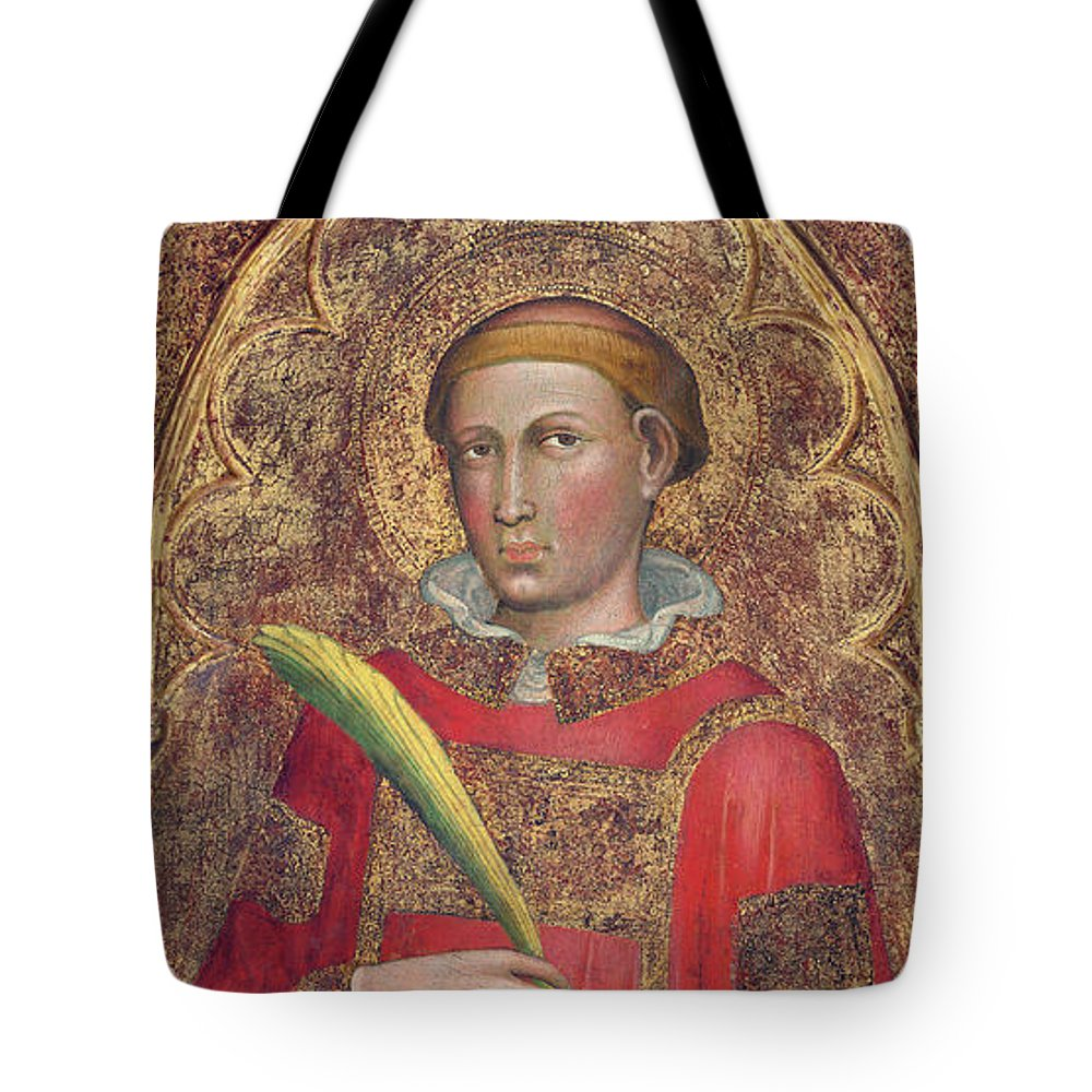 Saint Anthony Tote Bag featuring the painting Deacon Saint, With Saint Anthony Abbot by Martino di Bartolomeo