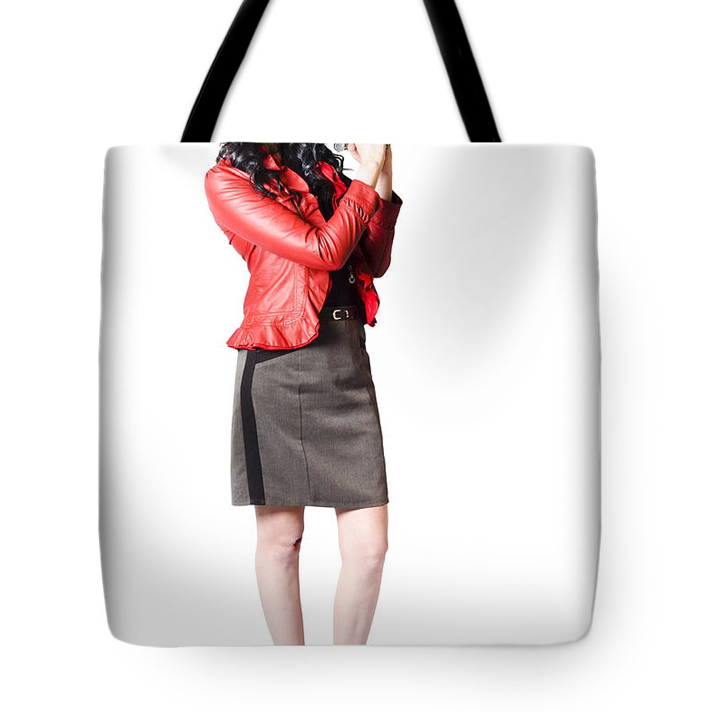 Agent Tote Bag featuring the photograph Dead Female Secret Agent Holding Hand Gun by Jorgo Photography - Wall Art Gallery