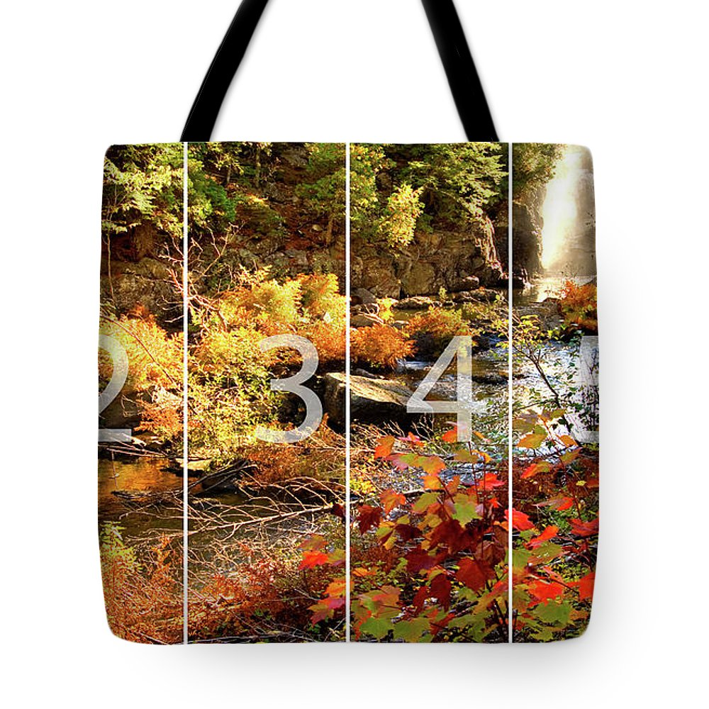 Dead River Falls Tote Bag featuring the mixed media Dead River Falls Marquette Michigan Panoramic Map by Michael Bessler