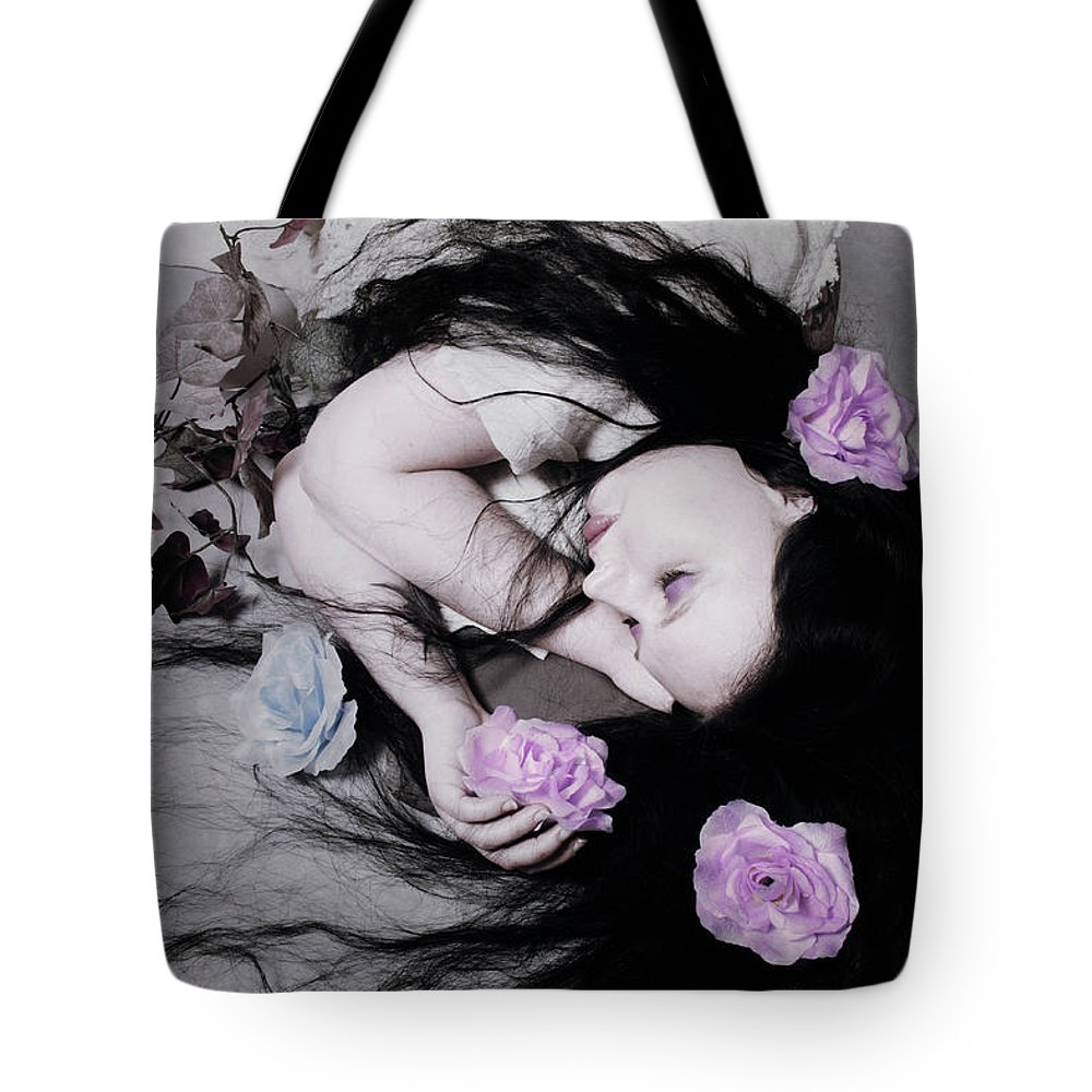 Flower Tote Bag featuring the photograph Dead Roses by Cambion Art