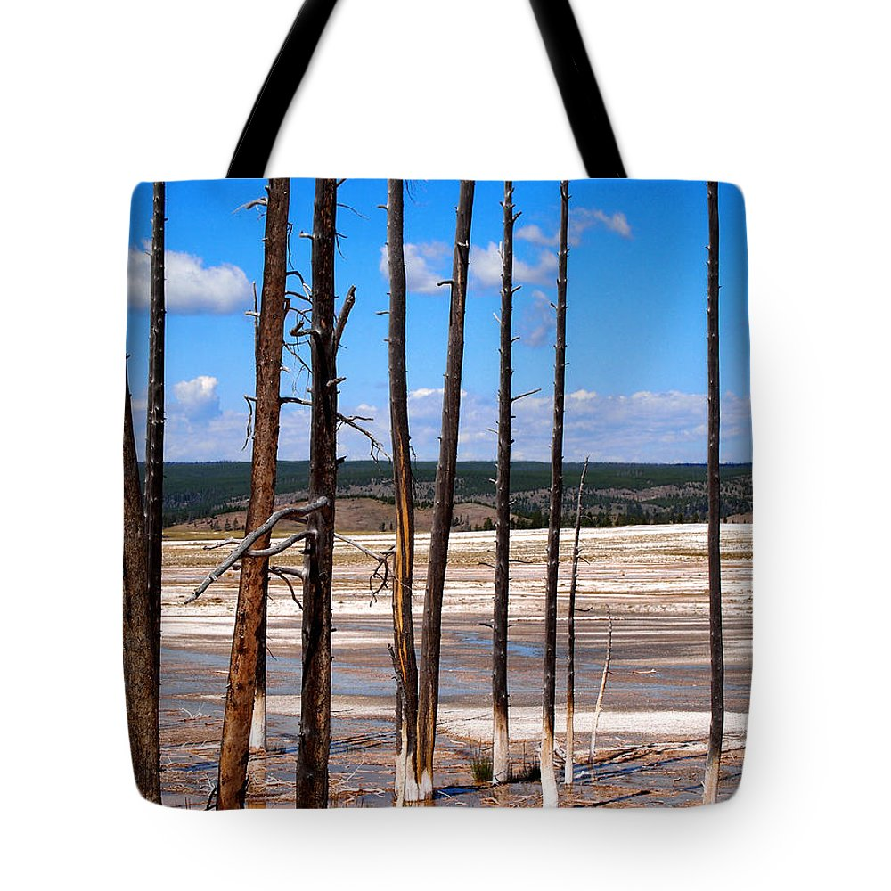 Spring Tote Bag featuring the photograph Dead Trees Standing In Hot Springs Within Yellowstone National P by Thomas Baker