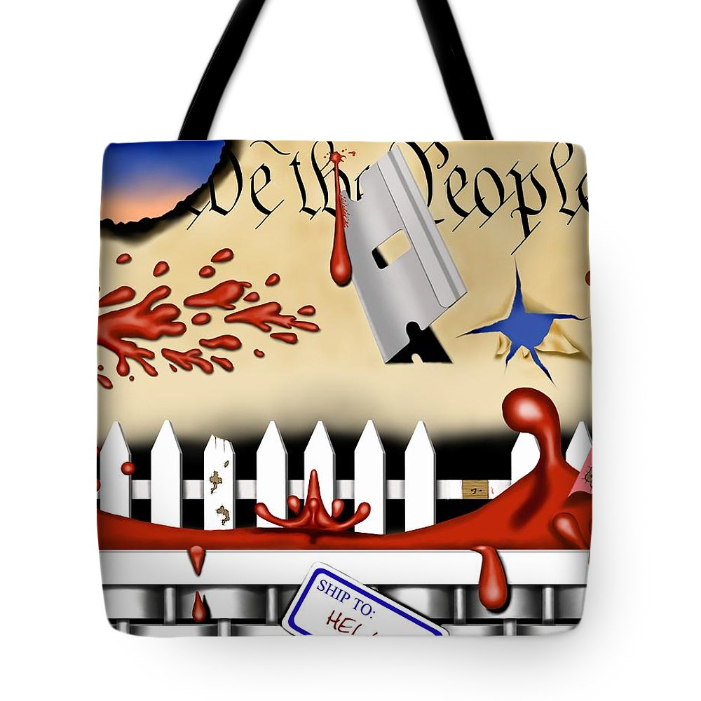 Political Surreal Tote Bag featuring the digital art Dead White And Blue I by Robert Morin