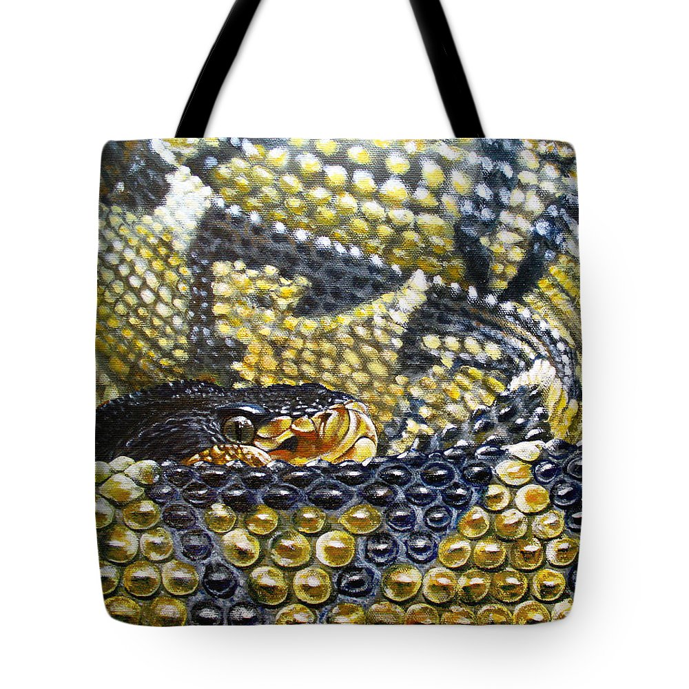 Snake Tote Bag featuring the painting Deadly Details by Cara Bevan