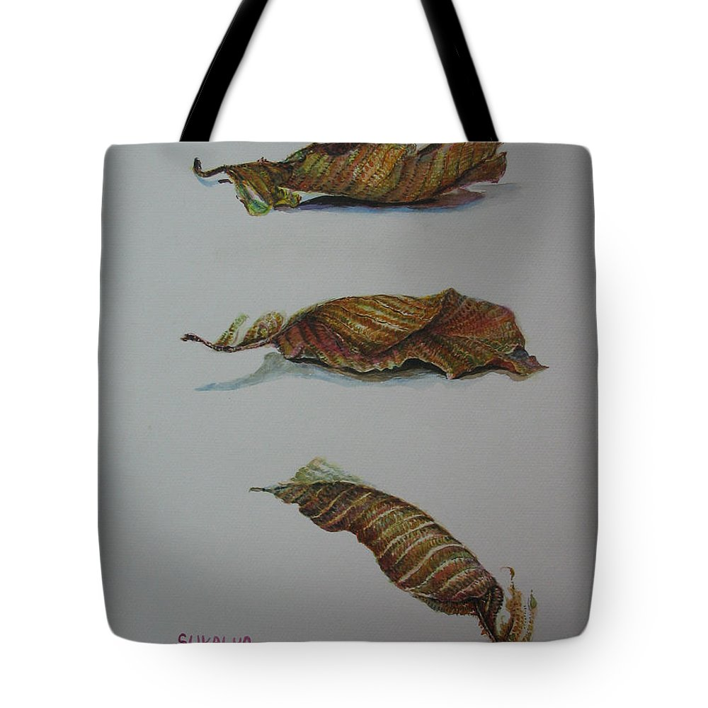 Leaf Tote Bag featuring the painting Death Leaf Walking by Sukalya Chearanantana