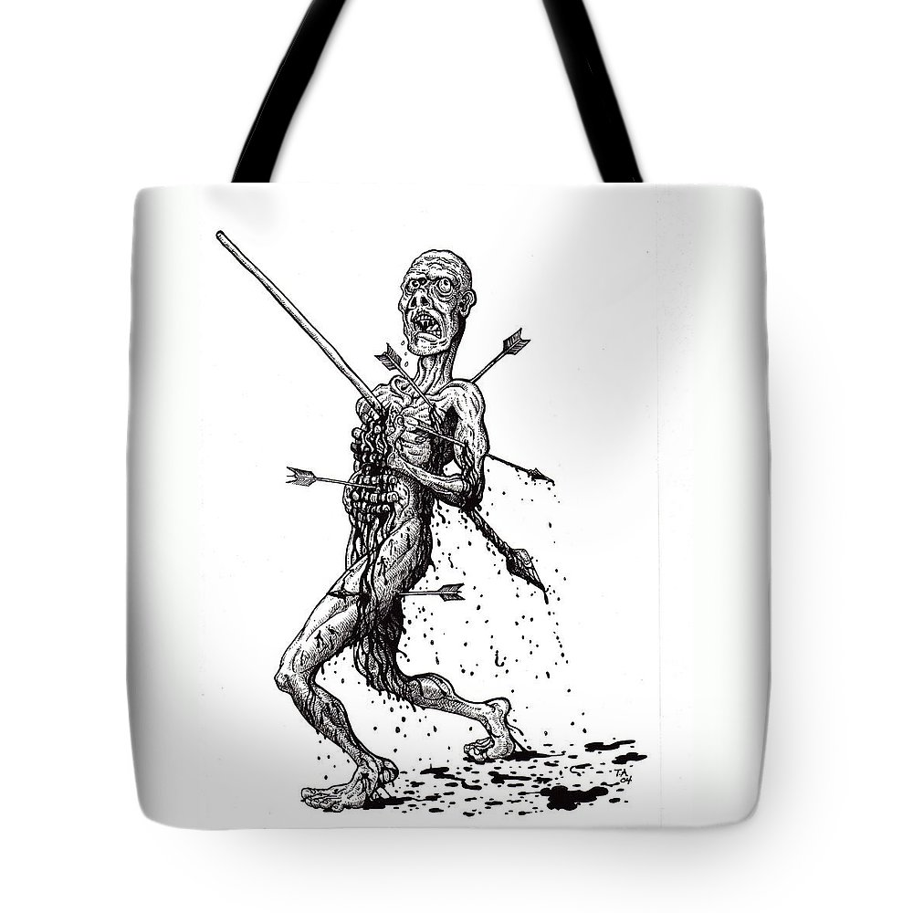 Dark Tote Bag featuring the drawing Death March by Tobey Anderson