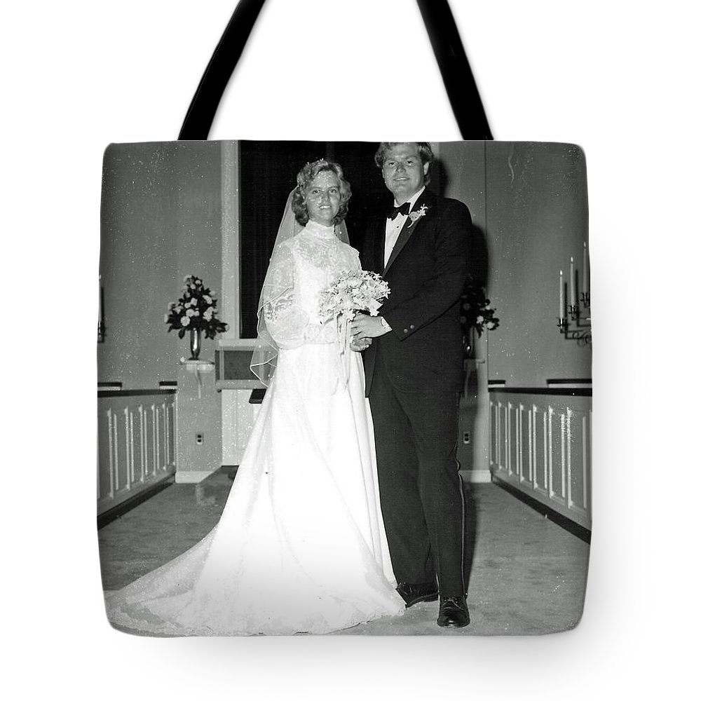 Wedding Tote Bag featuring the photograph Deb And John by John Graziani