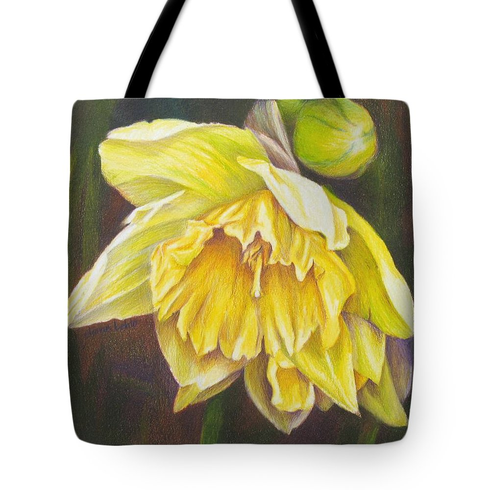 Colored Pencil Tote Bag featuring the painting December Flower Narcissus by Janae Lehto