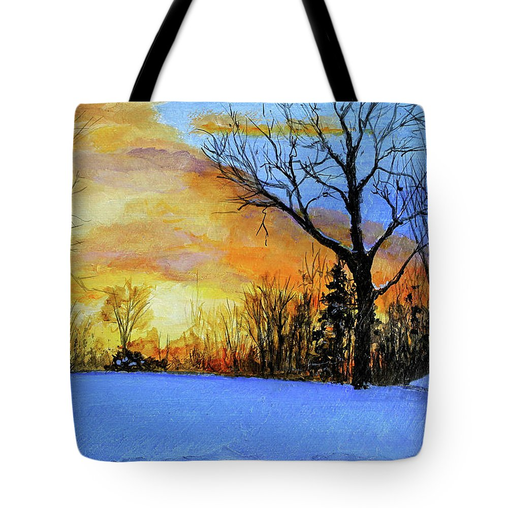 Sunset Tote Bag featuring the painting December Sunset by C Keith Jones