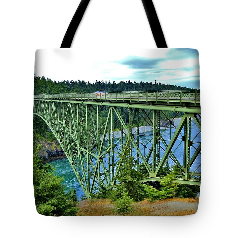 Puget Sound Tote Bag featuring the photograph Deception Pass Bridge by Terry Matysak