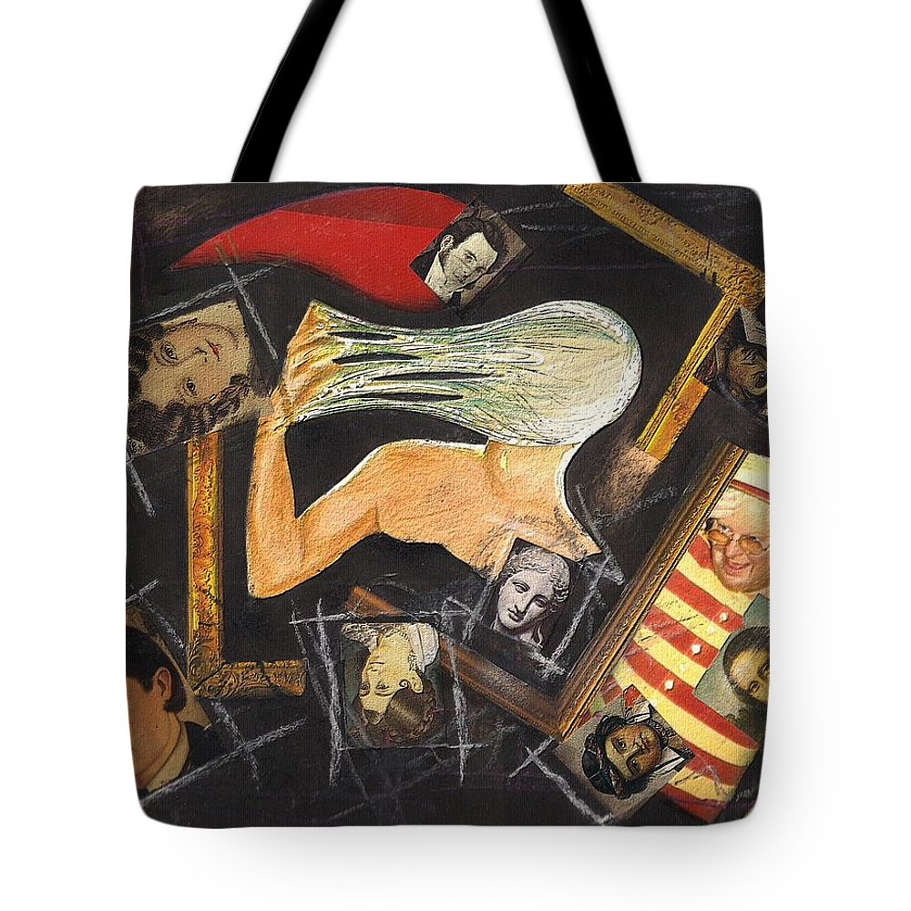 Portrait Self Confusion Tote Bag featuring the mixed media deconstructing Dorian Gray by Veronica Jackson