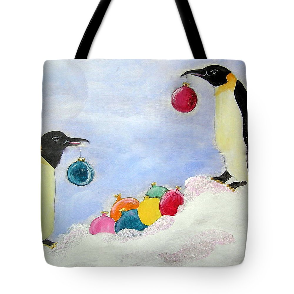 Penguins Tote Bag featuring the painting Christmas Penguins by Patricia Piffath