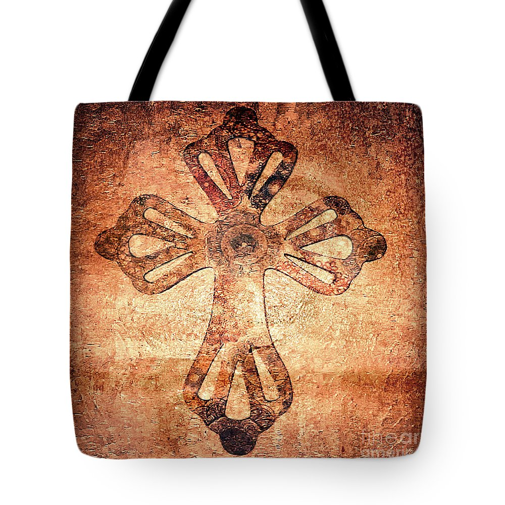 Martha Ann Tote Bag featuring the painting Decorative Antique Cross A39816 by Mas Art Studio