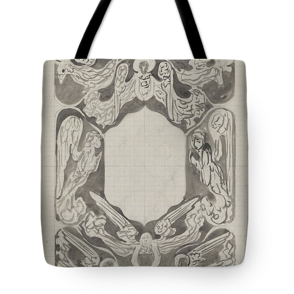 Pattern Tote Bag featuring the painting Decorative Design With Angels, Carel Adolph Lion Cachet, 1874 - 1945 by Carel Adolph Lion Cachet