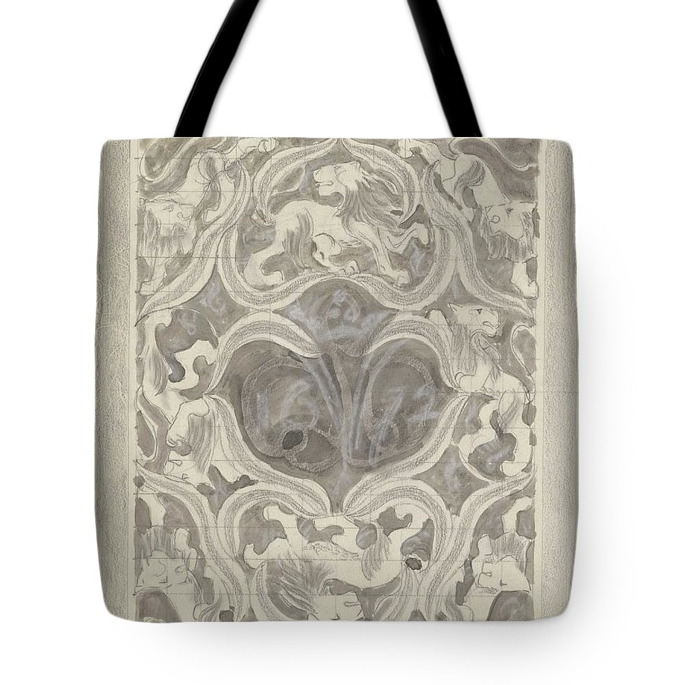 Pattern Tote Bag featuring the painting Decorative Design With Leaf Motif, Carel Adolph Lion Cachet, 1874 - 1945 by Carel Adolph Lion Cachet