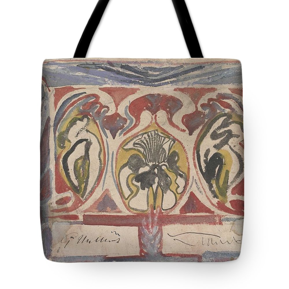 Pattern Tote Bag featuring the painting Decorative Design With Two Signatures, Carel Adolph Lion Cachet, 1874 - 1945 by Carel Adolph Lion Cachet