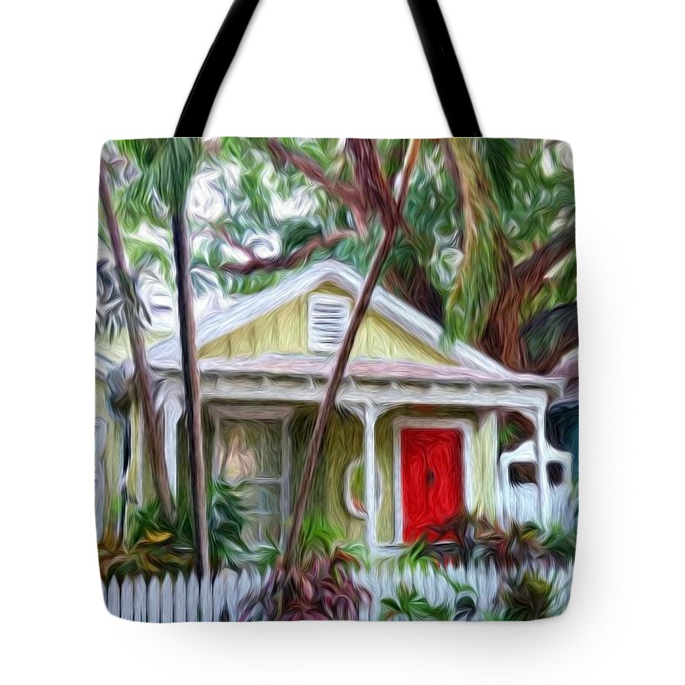 Tropical Tote Bag featuring the painting Dee Dee's Cottage by Susie Shaw