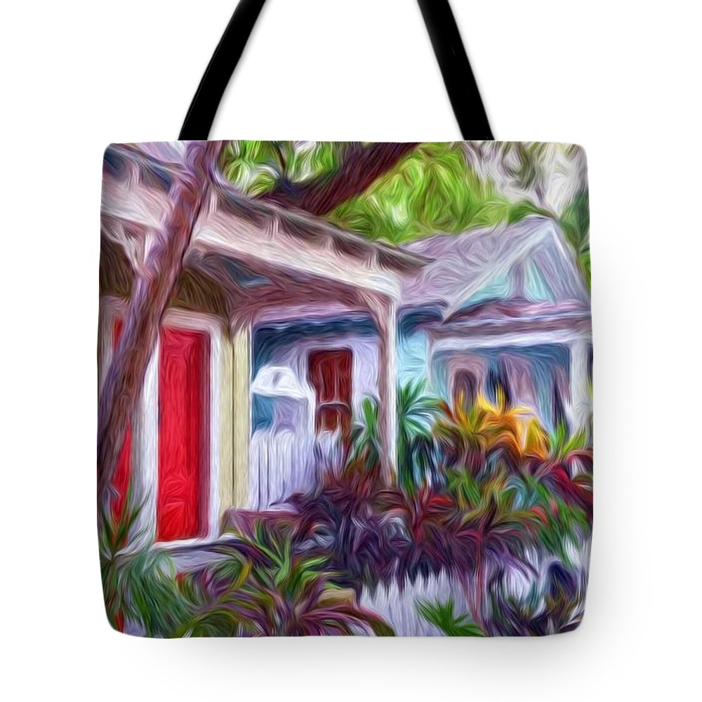 Tropical Tote Bag featuring the painting Dee Dee's Street by Susie Shaw