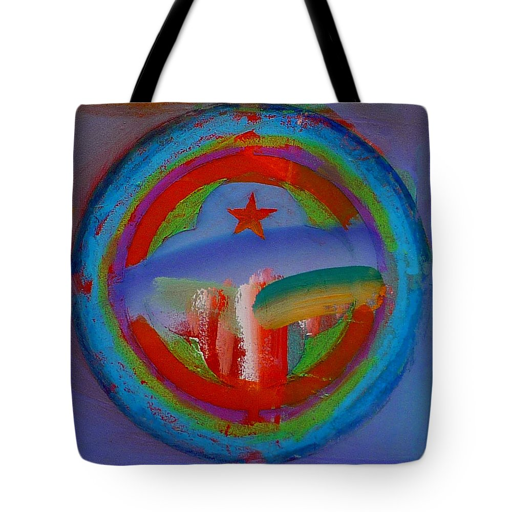 Logo Tote Bag featuring the painting Deep Blue Decal by Charles Stuart