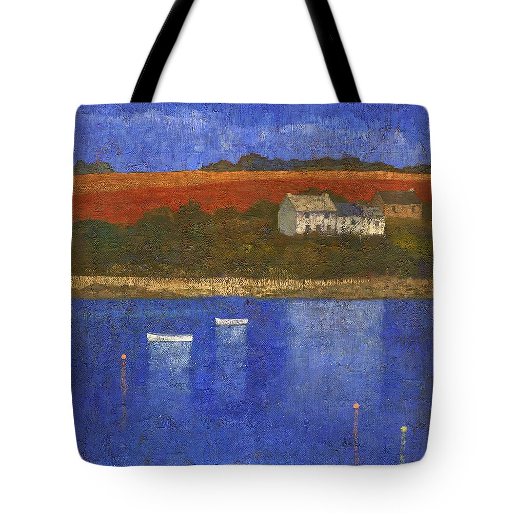 Boats Tote Bag featuring the painting Deep Blue by Steve Mitchell