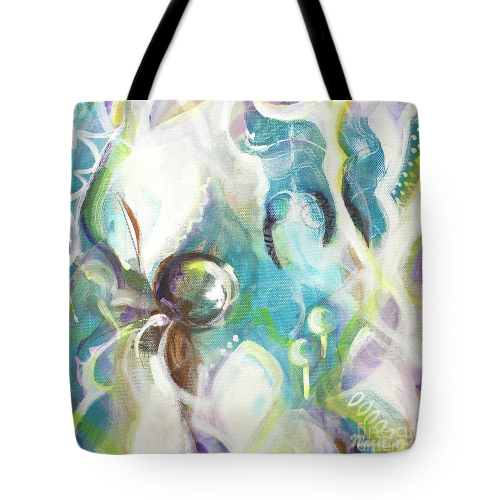 Abstract Art Tote Bag featuring the painting Deep In by Marcela Levinska