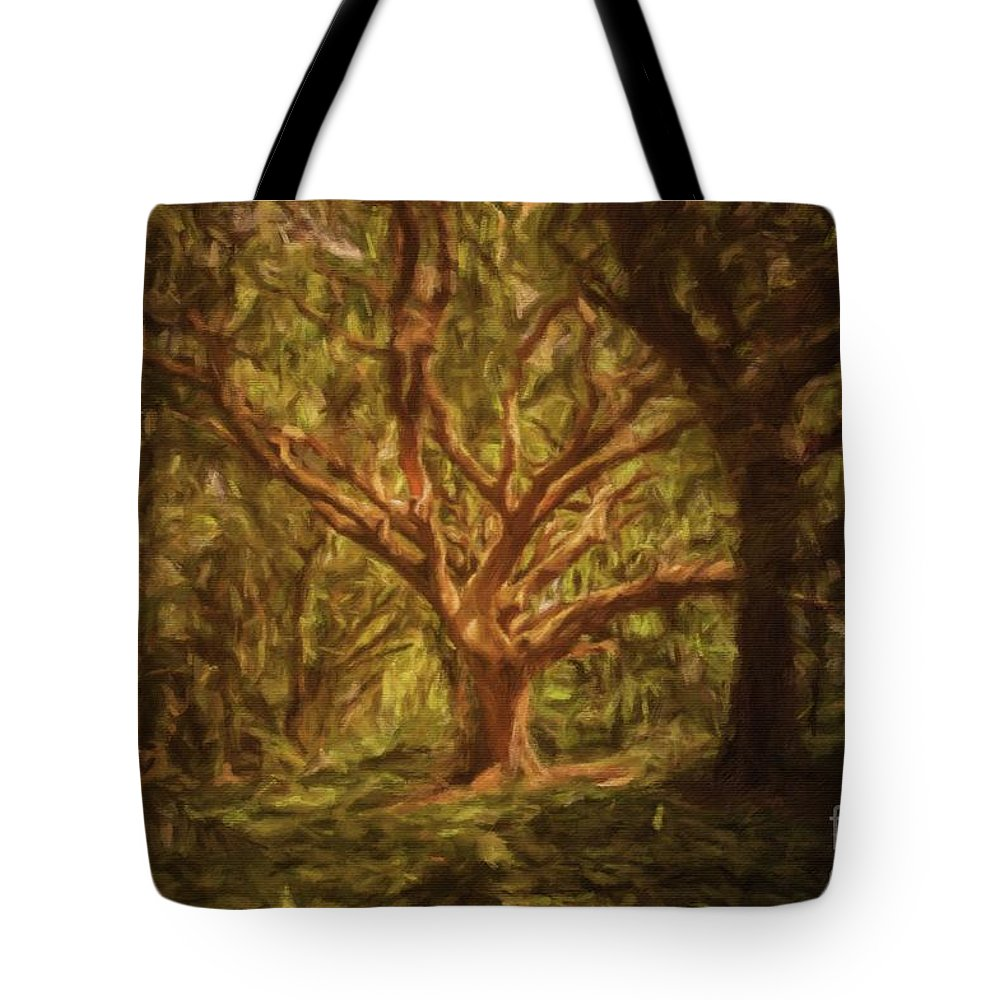 Landscape Tote Bag featuring the painting Deep In Sherwood by Sarah Kirk