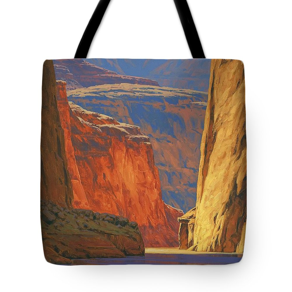 Grand Canyon Tote Bag featuring the painting Deep in the Canyon by Cody DeLong