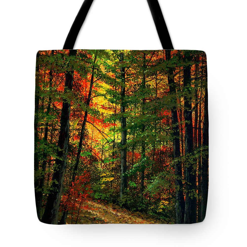 Landscape Tote Bag featuring the painting Deep In The Forest by Frank Wilson