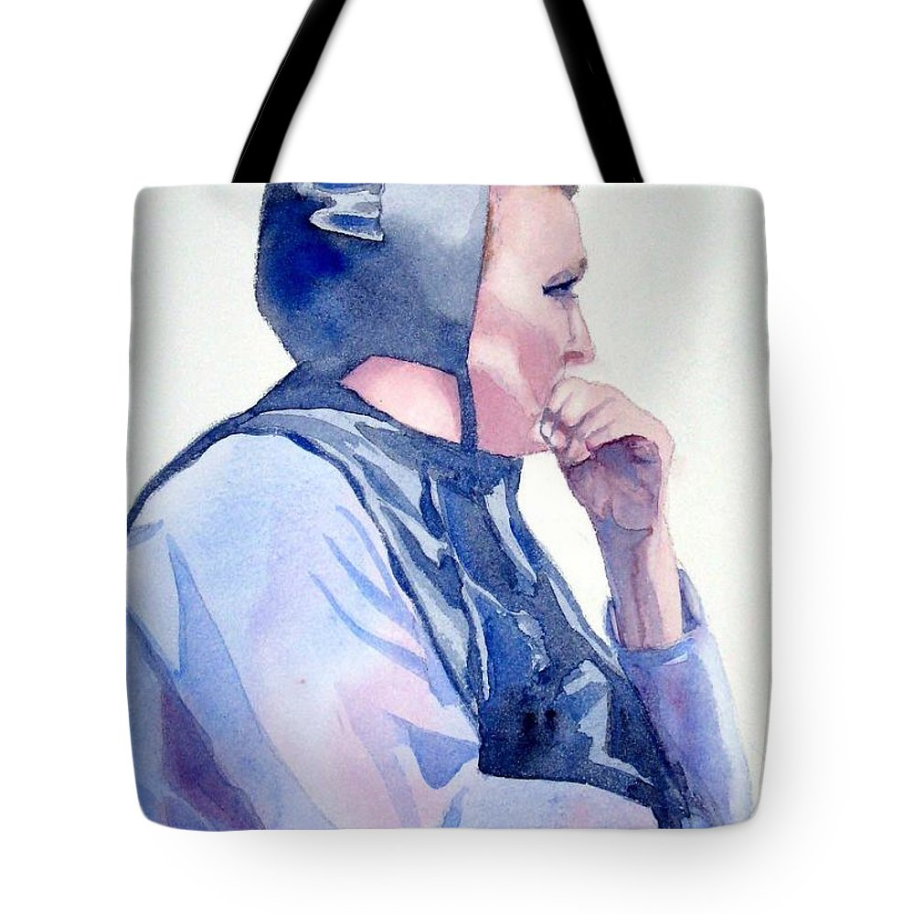 Woman Tote Bag featuring the painting Deep In Thought by Marsha Elliott