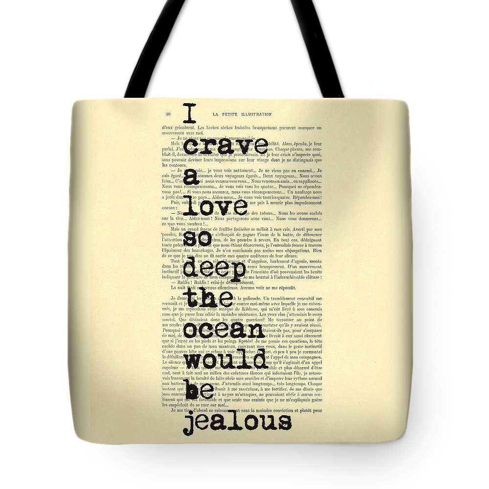 Quote Tote Bag featuring the digital art Deep Love by Madame Memento
